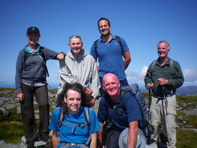 Leo Varadkar, Tony Birtill, and a hill walking group at Oideas Gael